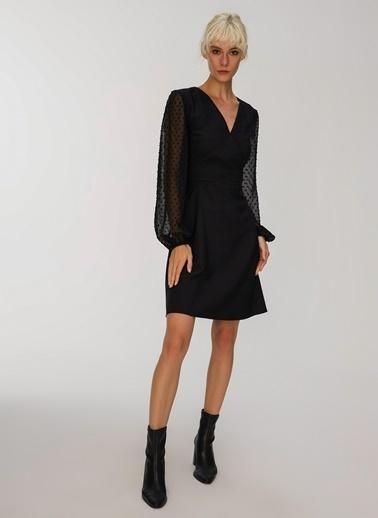 People By Fabrika Kollar Şifon Detaylı Elbise Siyah